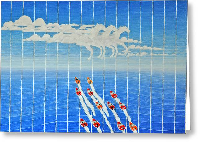 Boat Race Horse Clouds Greeting Card