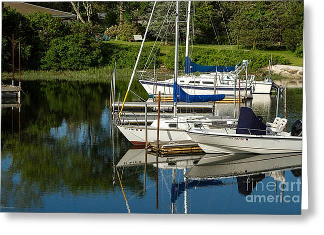 Greeting Card featuring the photograph Boat Reflections In Cape Cod Hen Cove by Eleanor Abramson