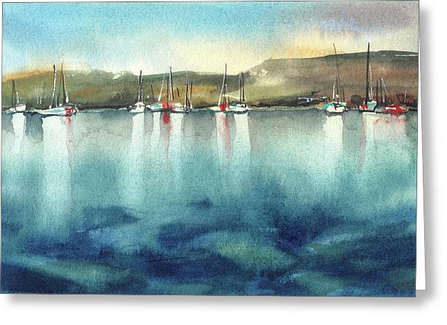 Boat Reflections Greeting Card by Sophia Rodionov