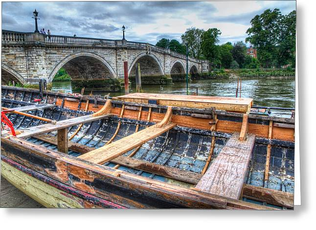 Boat Repair On The Thames Greeting Card by Tim Stanley