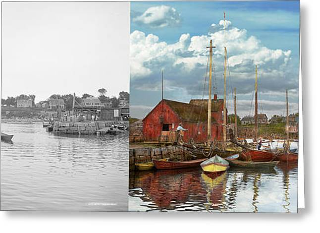 Boat - Rockport Mass - Motif Number One - 1906 - Side By Side Greeting Card by Mike Savad