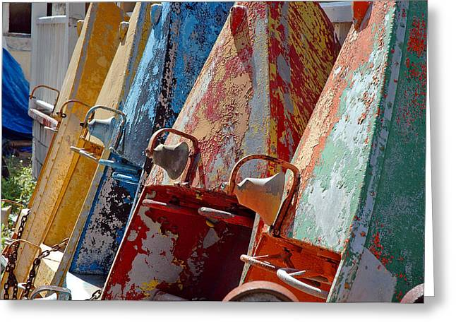 Boat Row Greeting Card by Allen Carroll