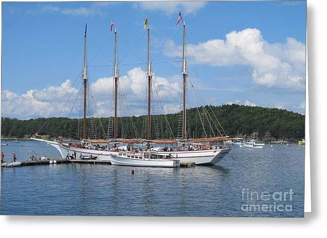 Sail Boat Moored At Block Island Greeting Card by Anthony Morretta