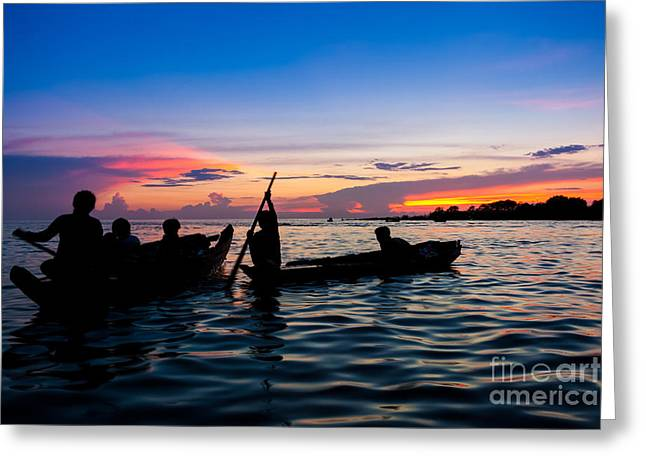 Boat Silhouettes Angkor Cambodia Greeting Card by Fototrav Print