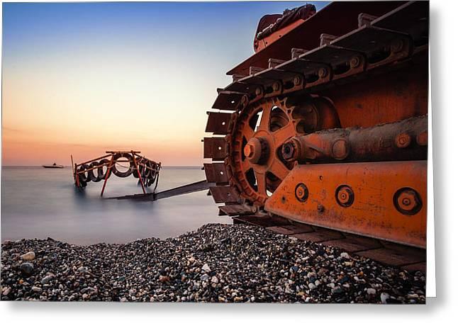 Boat Tractor Greeting Card by Alfio Finocchiaro