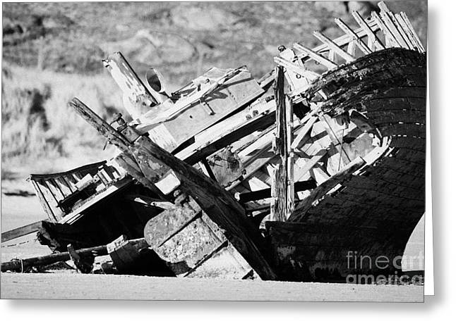 boat wreck on bunbeg beach in gweedore Donegal Republic of Ireland Greeting Card