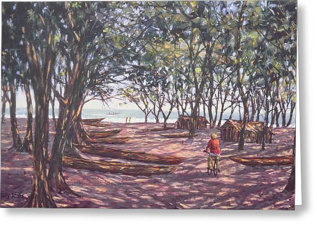 Boat Yard, Kafountine, 1998 Oil On Canvas Greeting Card