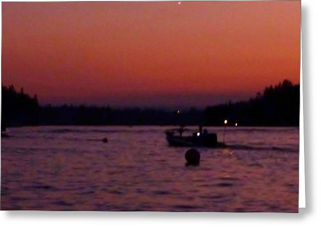 Boaters Red Sky At Night Oregon Greeting Card by Susan Garren
