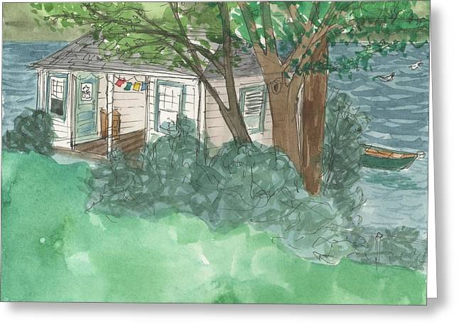 Boathouse At Ananda Greeting Card by Jennifer Mazzucco