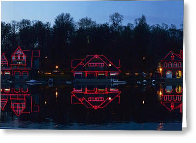 Boathouse At The Waterfront, Schuylkill Greeting Card by Panoramic Images