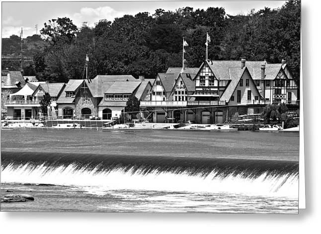 Boathouse Row - Bw Greeting Card by Lou Ford