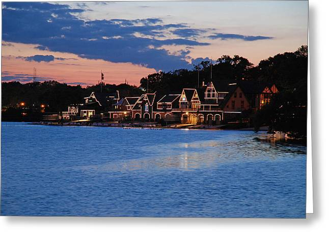 Boathouse Row Dusk Greeting Card