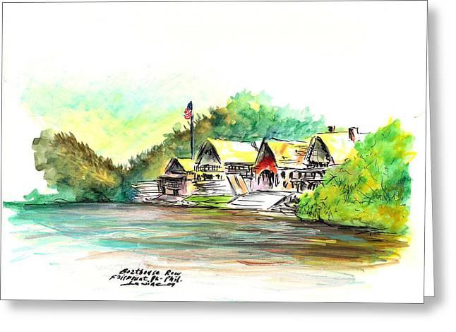 Boathouse Row Greeting Card by Joseph Levine