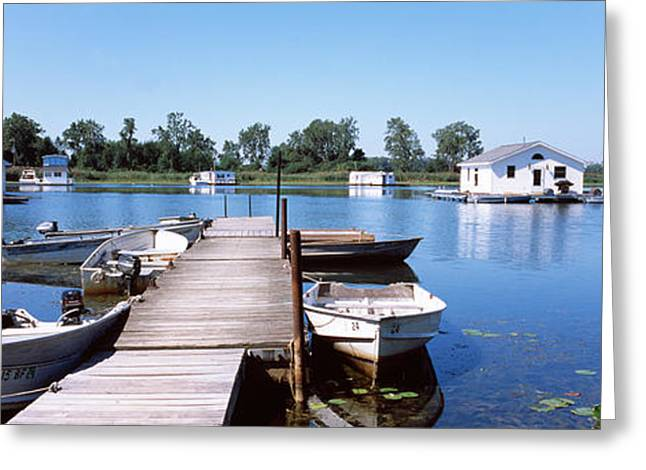 Boathouses In A Lake, Lake Erie, Erie Greeting Card by Panoramic Images