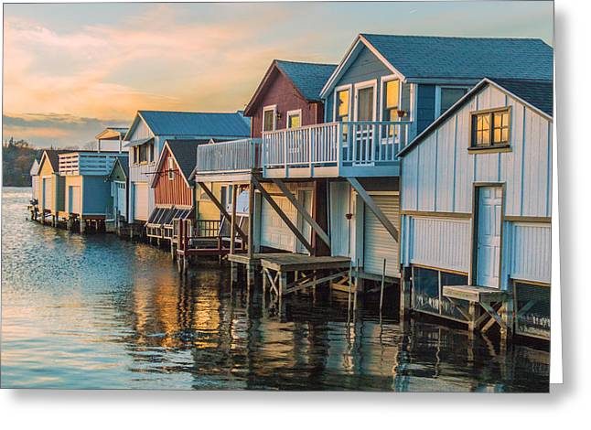 Boathouses In The Golden Hour Greeting Card by Lou Cardinale