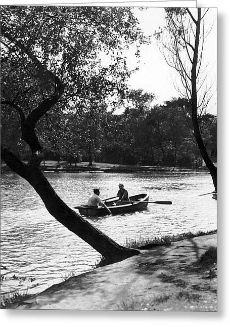 Boating In Lincoln Park Greeting Card by Underwood Archives