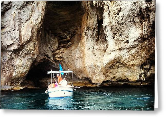 Boating In The Grotto Greeting Card by H Hoffman