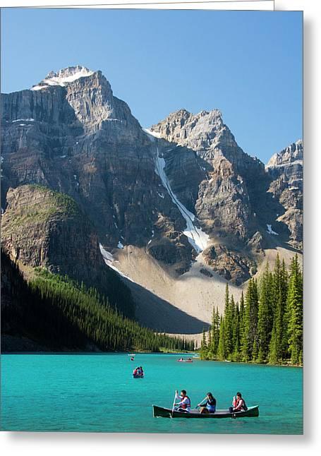 Boating, Moraine Lake, Reflection Greeting Card