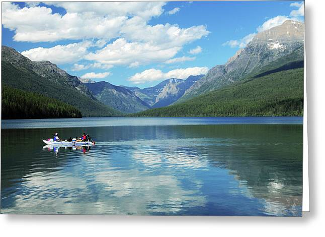 Boating On Bowman Lake, Glacier Greeting Card by Michel Hersen