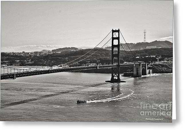 Boating Under The Golden Gate Greeting Card