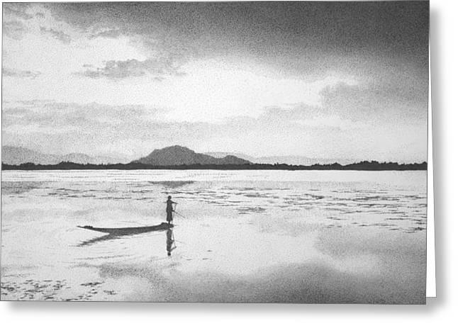 Boatman On Lake Dal Greeting Card by Nicholas Ryding