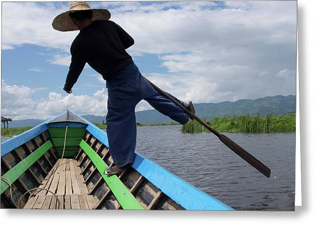 Boatman Rowing Boat With Distinctive Greeting Card
