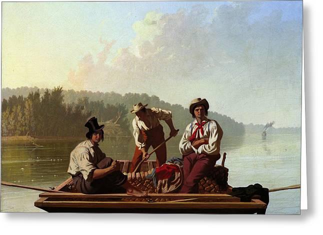 Boatmen On The Missouri Greeting Card by George Caleb Bingham