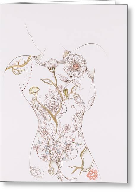 Botanicalia Fauve Greeting Card by Karen Robey