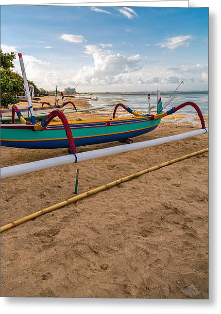 Boats - Bali Greeting Card by Matthew Onheiber