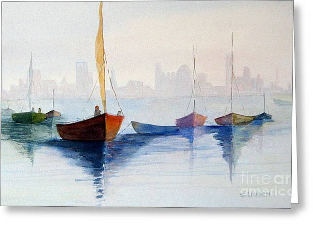 Boats Against The Skyline Greeting Card
