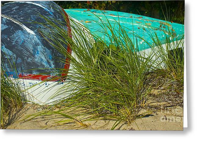 Boats And Beachgrass Greeting Card by Amazing Jules