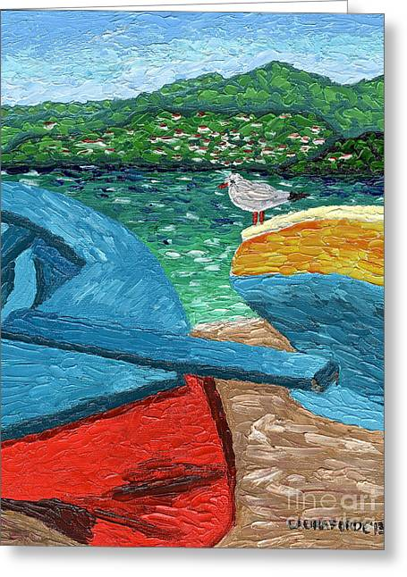 Greeting Card featuring the painting Boats And Bird At Rest by Laura Forde