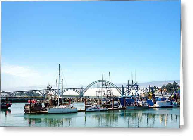 Boats And Bridge Greeting Card by Jess Kraft