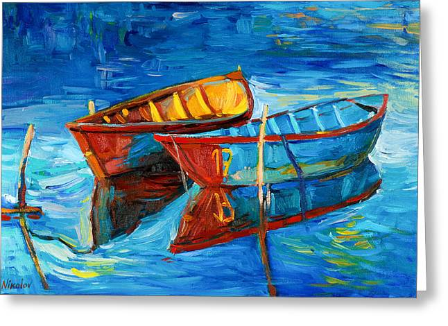Boats And Sea Greeting Card by Ivailo Nikolov
