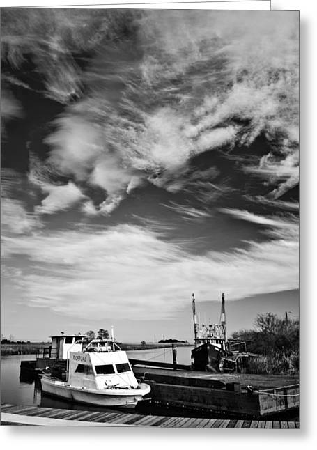 Boats And Sky Bw Greeting Card