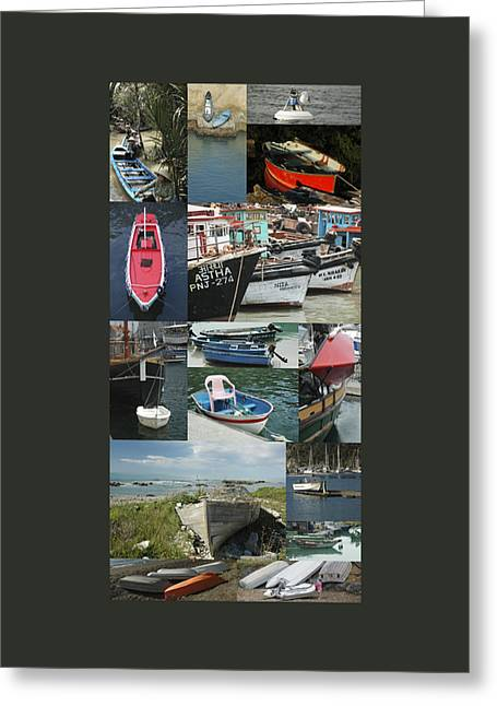 Boats Around The World Greeting Card by Helen Worley