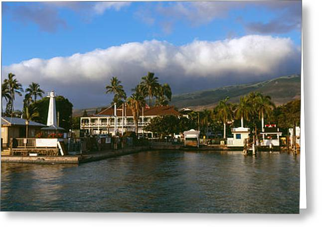 Boats At A Harbor, Lahaina Harbor Greeting Card by Panoramic Images