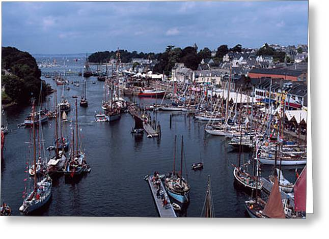Boats At A Harbor, Port Rhu Harbour Greeting Card