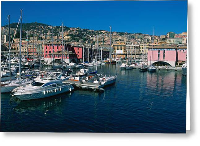 Boats At A Harbor, Porto Antico, Genoa Greeting Card by Panoramic Images