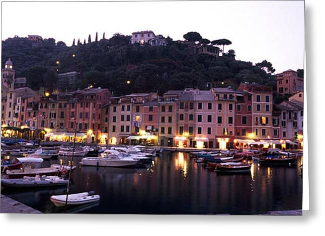 Boats At A Harbor, Portofino, Genoa Greeting Card by Panoramic Images