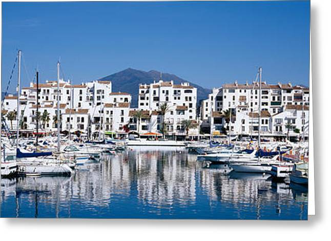 Boats At A Harbor, Puerto Banus, Costa Greeting Card