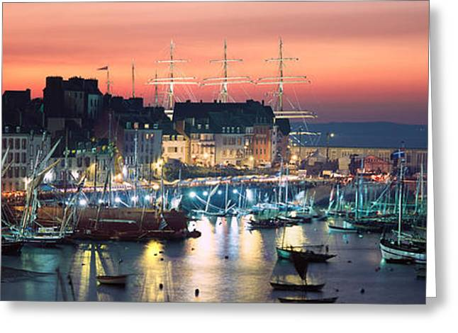 Boats At A Harbor, Rosmeur Harbour Greeting Card by Panoramic Images