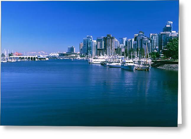 Boats At A Marina, Vancouver, British Greeting Card by Panoramic Images