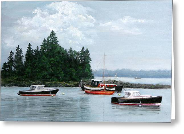 Greeting Card featuring the painting Boats At Bar Harbor by Sandra Nardone