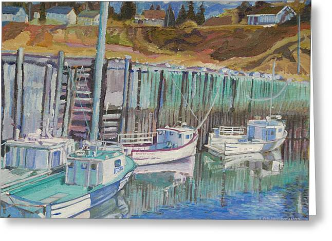 Boats At Halls Harbour Greeting Card by Janet Ashworth