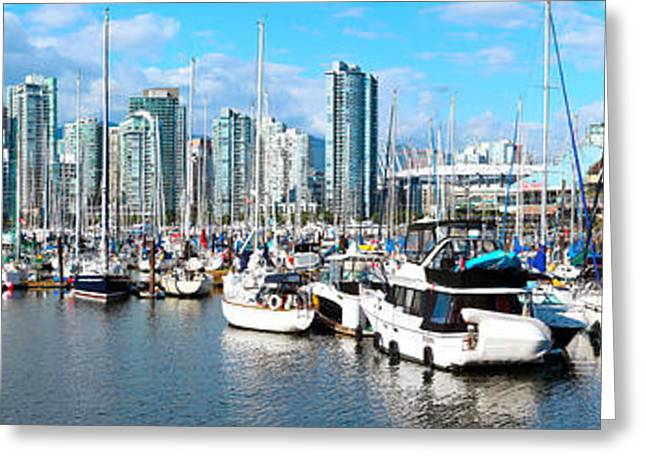 Boats At Marina With Vancouver Skylines Greeting Card by Panoramic Images