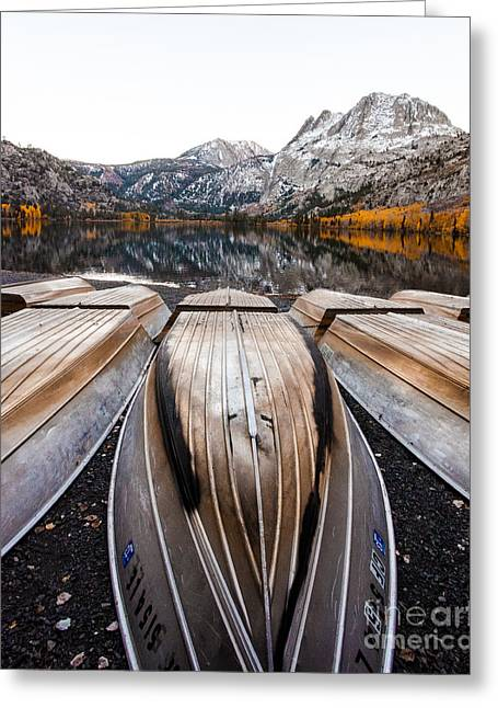 Boats At Mountain Lake In Autumn Fine Art Photograph Print Greeting Card
