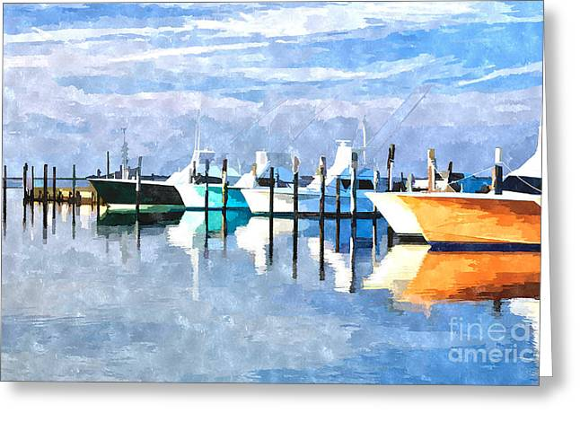 Boats At Oregon Inlet Outer Banks IIi Greeting Card by Dan Carmichael