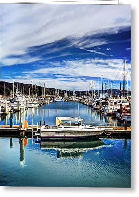Boats At Pillar Point Harbor In Half Moon Bay  Greeting Card by Jennifer Rondinelli Reilly - Fine Art Photography