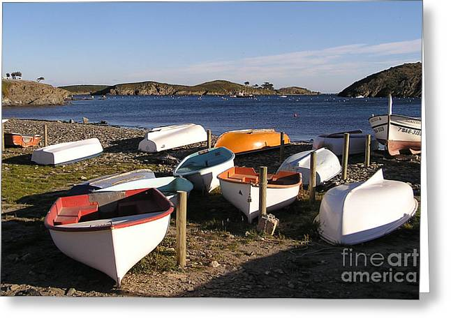 Boats At Port Lligat Greeting Card by James T